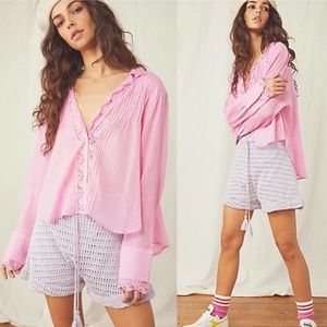 Free People Pink Delicate Femme Lace Button Top